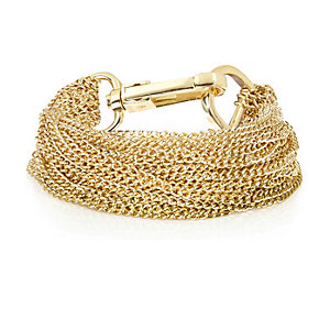 Gold tone multi chain bracelet