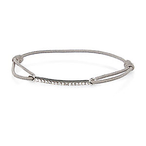 Grey simple diamante bar bracelet