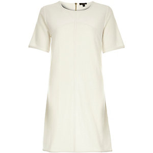 White leather-look panel t-shirt dress