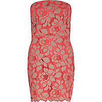 Coral lace bandeau dress