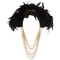 Black drape feather chain necklace