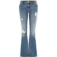 Mid wash distressed Brooke flare jeans