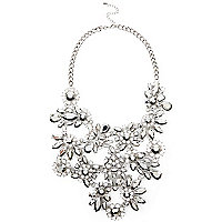 Silver tone gem flower statement bib necklace