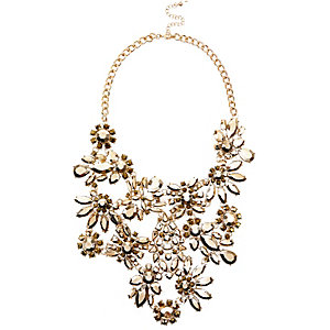 Gold tone gem flower statement bib necklace