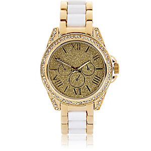 Gold tone glittery white strap watch