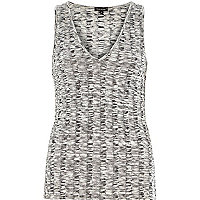 Grey chunky ribbed V-neck vest