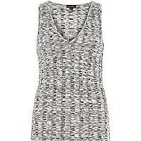 Grey chunky ribbed V-neck vest