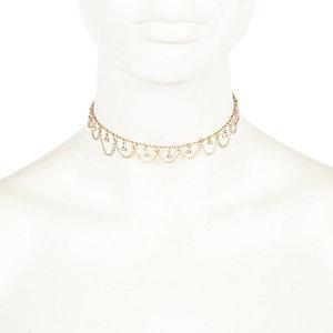 Gold tone pretty embellished chain choker