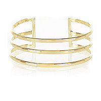 Gold tone three row cuff
