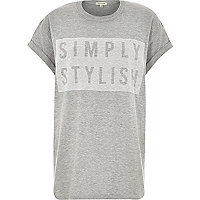 Grey simply stylish print oversized t-shirt