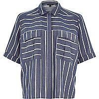Blue stripe pocket shirt