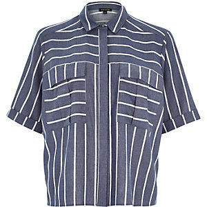 Blue stripe pocket shirt