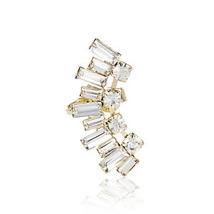 Gold tone baguette gem ear cuff