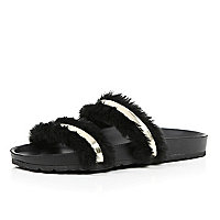 Black fur trim double strap sliders