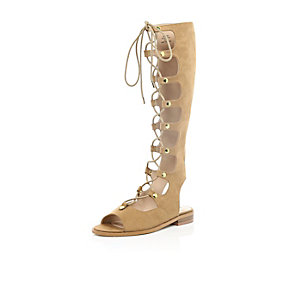 Tan faux suede high leg gladiator sandals