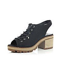 Black lace up slingback shoes
