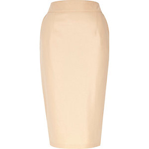 Peach leather-look pencil skirt