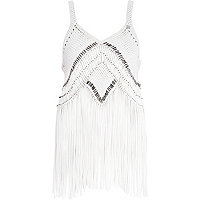 Cream Pacha fringed cami top