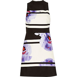 Purple floral print A-line dress