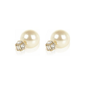 Cream gem pearl front and back earrings