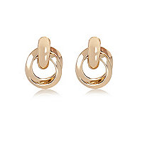 Gold tone glam knot earrings