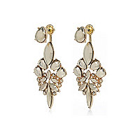 Gold tone statement front and back earrings