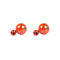 Coral speckled ball front and back earrings