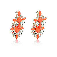 Orange statement gemstone dangle earrings