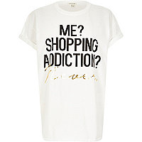 White shopping addicition oversized t-shirt
