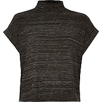 Dark grey turtle neck short sleeve top
