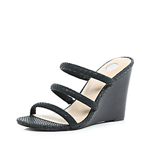 Black leather strappy wedge sandals