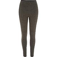 Grey tweed jacquard print leggins