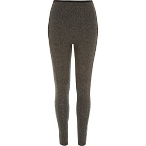 Grey tweed jacquard print leggins