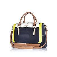 Navy block colour bowler bag