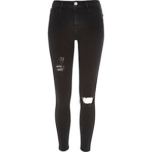 Washed black ripped Molly jeggings