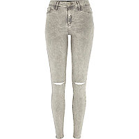 Grey acid wash ripped knee Molly jeggings