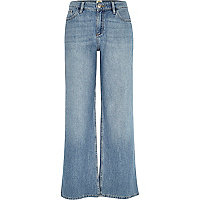 Mid wash wide leg jeans