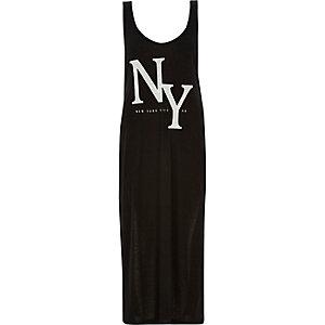 Black NY print longline tank top