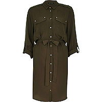 Khaki military shirt dress