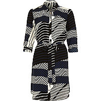 Blue abstract stripe shirt dress