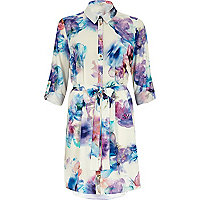 White digital floral print shirt dress