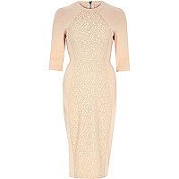 Pink lace bodycon midi dress