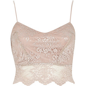 Light beige lace crop bralet