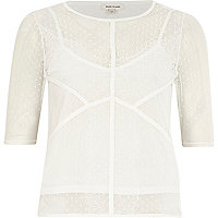 White lace detail t-shirt