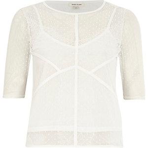 White lace detail t-shirt