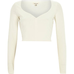 Cream sweetheart neckline crop top