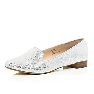 Silver glitter slipper shoes