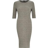 Grey ribbed bodycon 3/4 sleeve dress