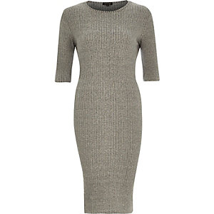 Grey ribbed bodycon 3/4 sleeve dress
