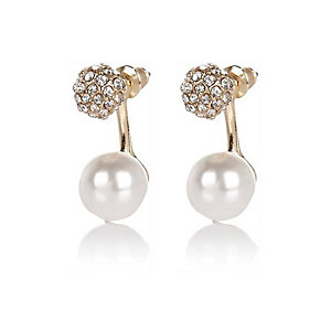 Cream pearl diamante front and back earrings